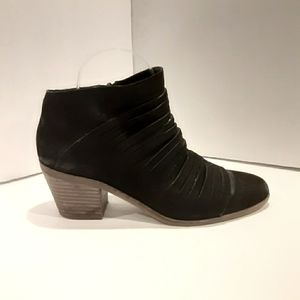 LUCKY BRAND Black Leather Strappy Suede Boots Shoe